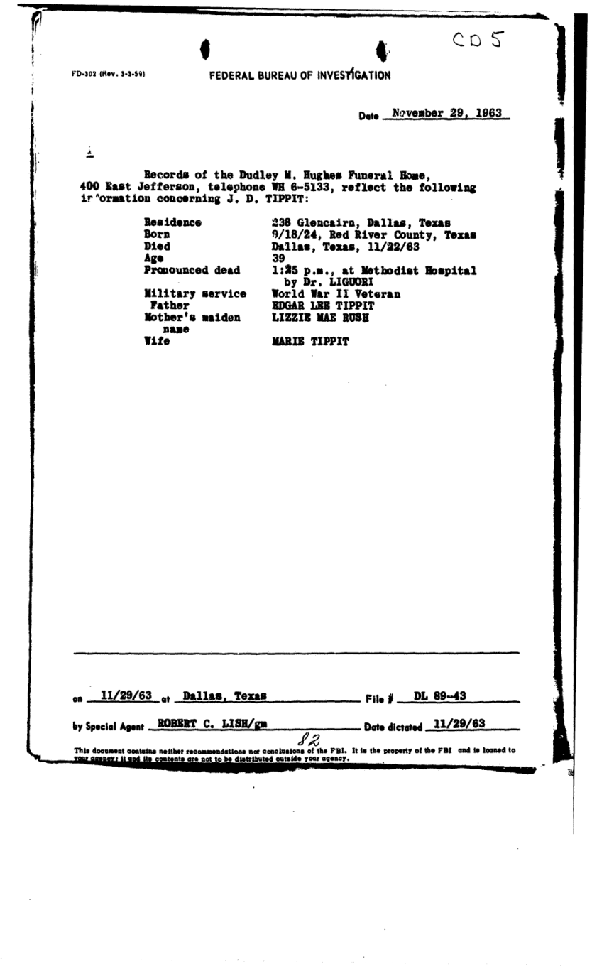 Commission Document 5 - FBI Gemberling Report of 30 Nov 1963 re: Oswald Current Section: IV. Shooting of Dallas Police Officer J. D. Tippit, Page 82